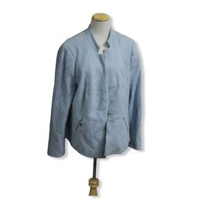 Laura Plus Blue Inverted Collar Blazer